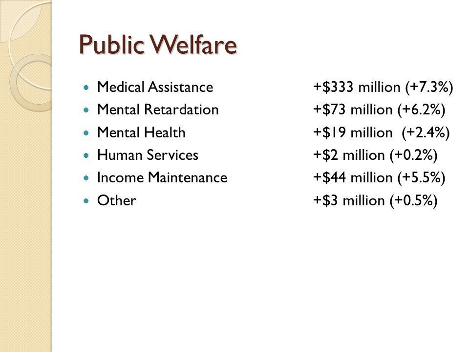Public Welfare Medical Assistance +$333 million (+7.3%) Mental Retardation +$73 million (+6.2%) Mental Health+$19 million (+2.4%) Human Services +$2 million (+0.2%) Income Maintenance+$44 million (+5.5%) Other+$3 million (+0.5%)