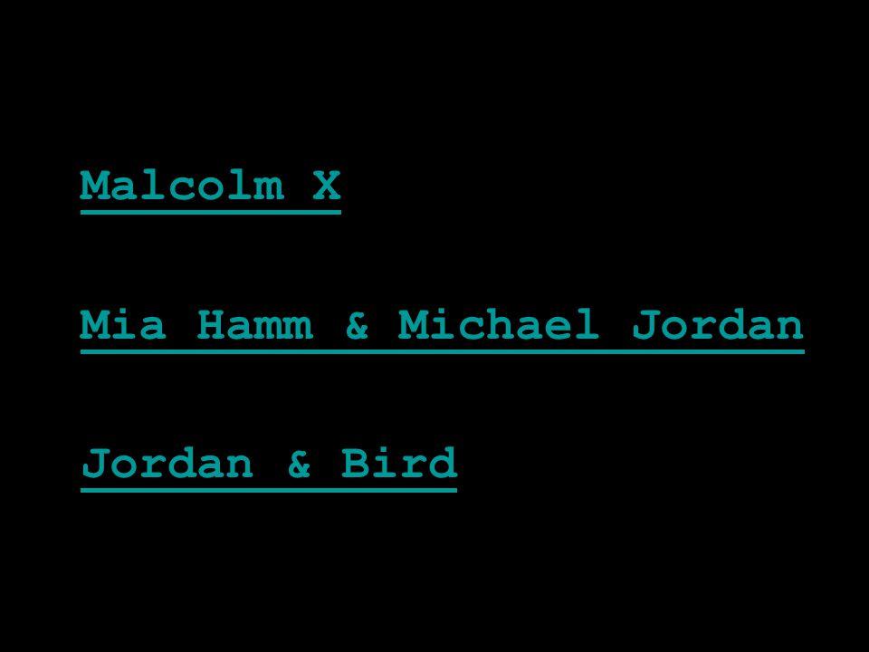 Malcolm X Mia Hamm & Michael Jordan Jordan & Bird