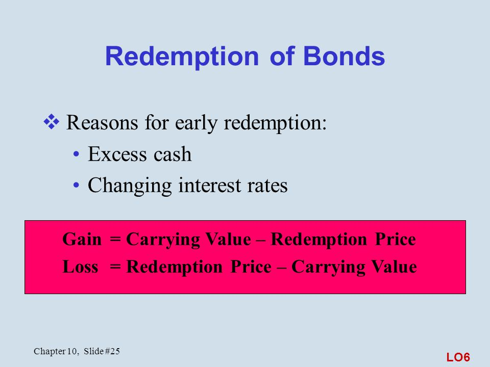 Chapter 10, Slide #25 Redemption of Bonds  Reasons for early redemption: Excess cash Changing interest rates Gain = Carrying Value – Redemption Price Loss = Redemption Price – Carrying Value LO6