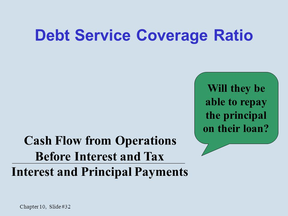 Chapter 10, Slide #32 Debt Service Coverage Ratio Cash Flow from Operations Before Interest and Tax Interest and Principal Payments Will they be able to repay the principal on their loan