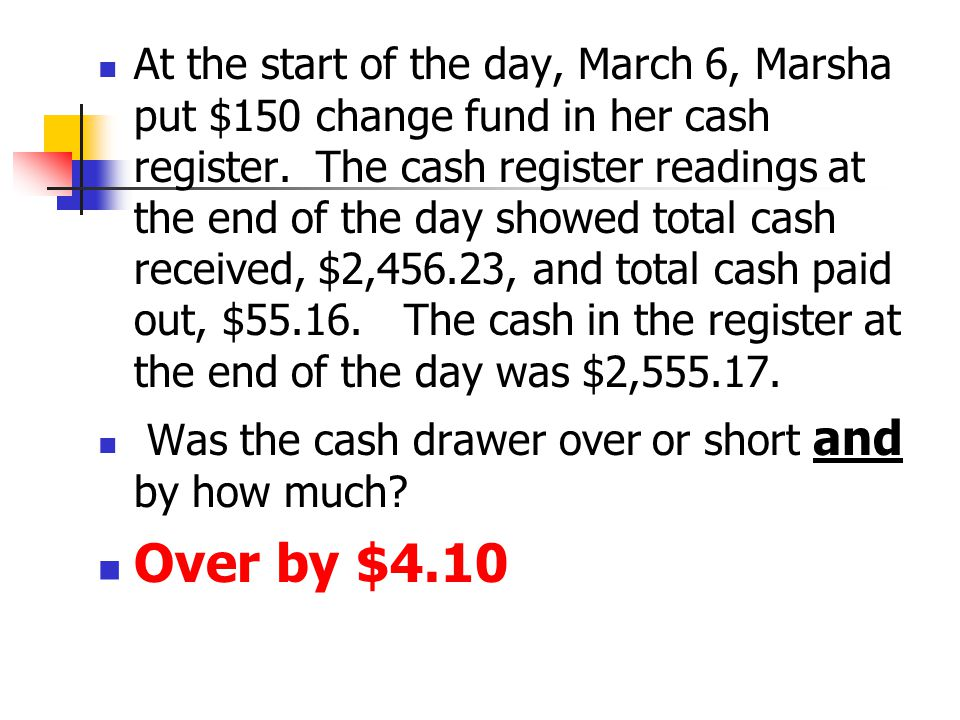 At the start of the day, March 6, Marsha put $150 change fund in her cash register.