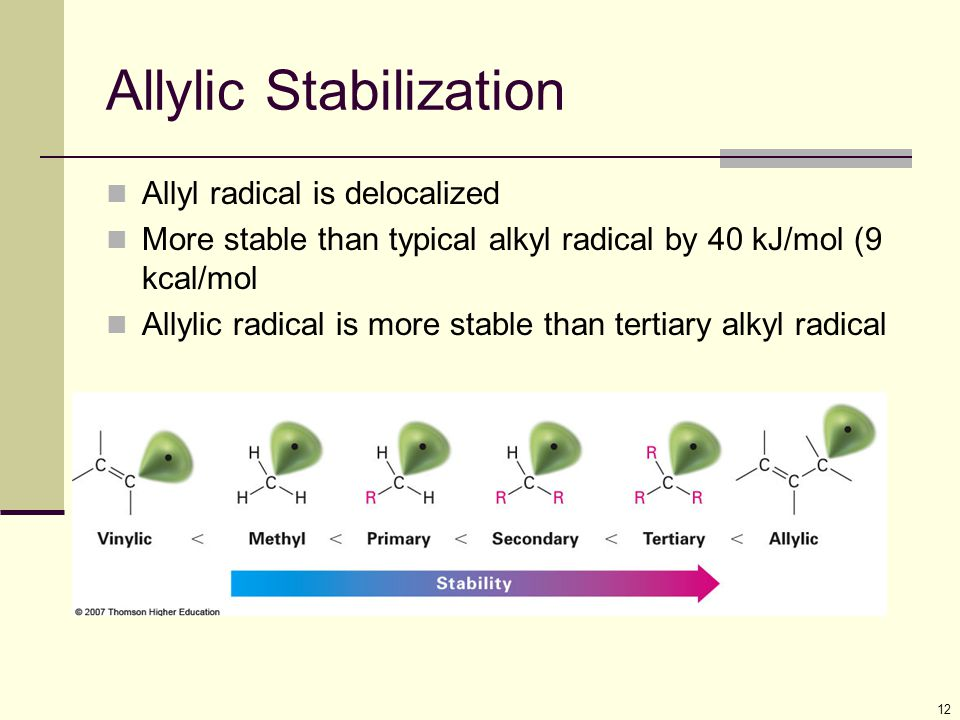 12 Allylic Stabilization Allyl radical is delocalized More stable than typical alkyl radical by 40 kJ/mol (9 kcal/mol Allylic radical is more stable than tertiary alkyl radical