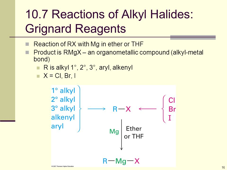 16 10.7 Reactions of Alkyl Halides: Grignard Reagents Reaction of RX with Mg in ether or THF Product is RMgX – an organometallic compound (alkyl-metal bond) R is alkyl 1°, 2°, 3°, aryl, alkenyl X = Cl, Br, I
