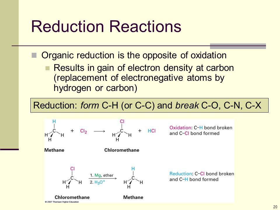 20 Reduction Reactions Organic reduction is the opposite of oxidation Results in gain of electron density at carbon (replacement of electronegative atoms by hydrogen or carbon) Reduction: form C-H (or C-C) and break C-O, C-N, C-X second reaction at top of p.