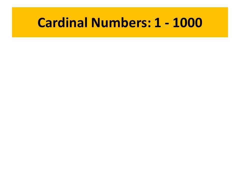 Cardinal Numbers: 1 - 1000