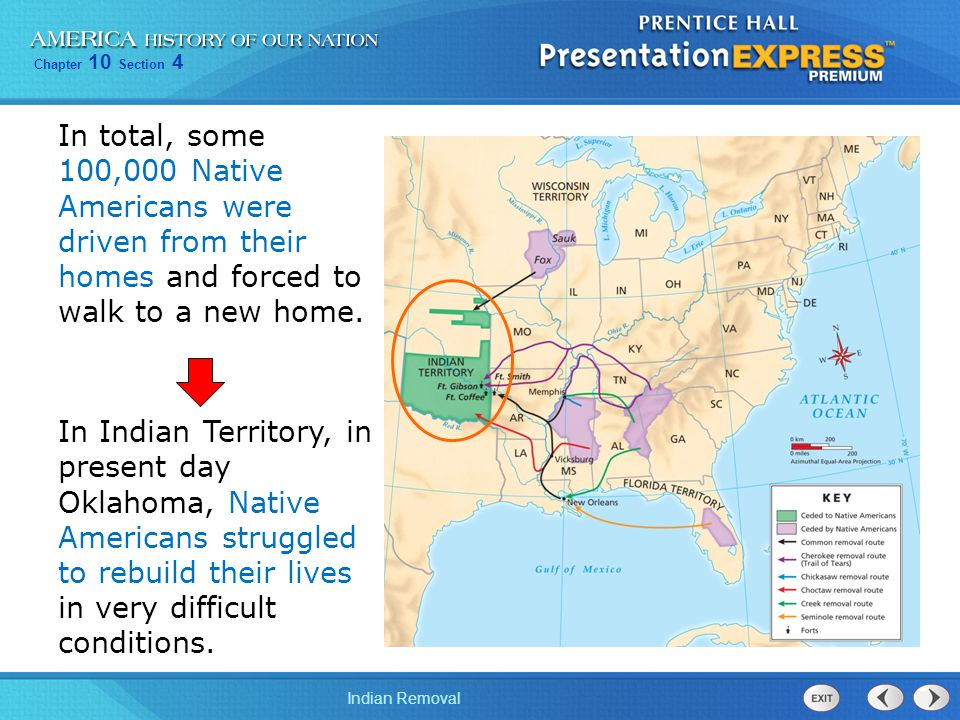 Chapter 10 Section 4 Indian Removal In total, some 100,000 Native Americans were driven from their homes and forced to walk to a new home. In Indian T