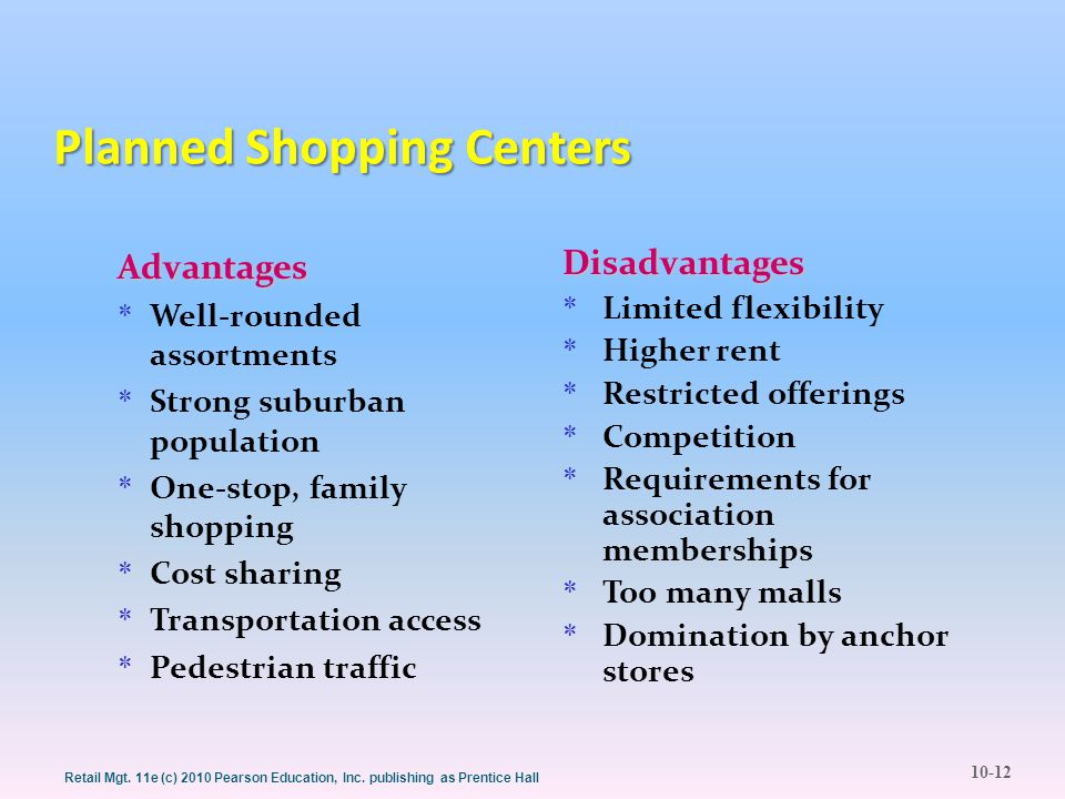 10-12 Retail Mgt. 11e (c) 2010 Pearson Education, Inc. publishing as Prentice Hall Planned Shopping Centers Advantages * Well-rounded assortments * St