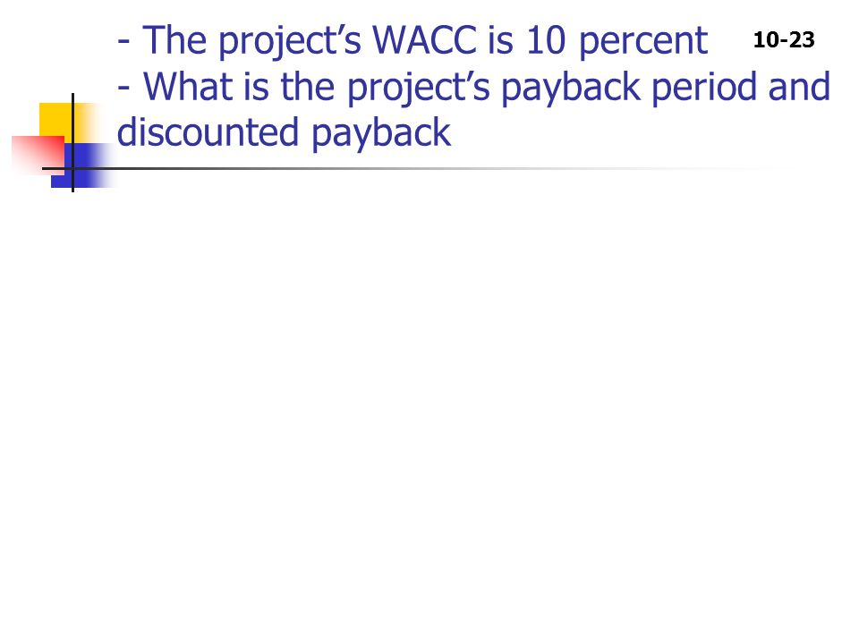 10-23 - The project's WACC is 10 percent - What is the project's payback period and discounted payback