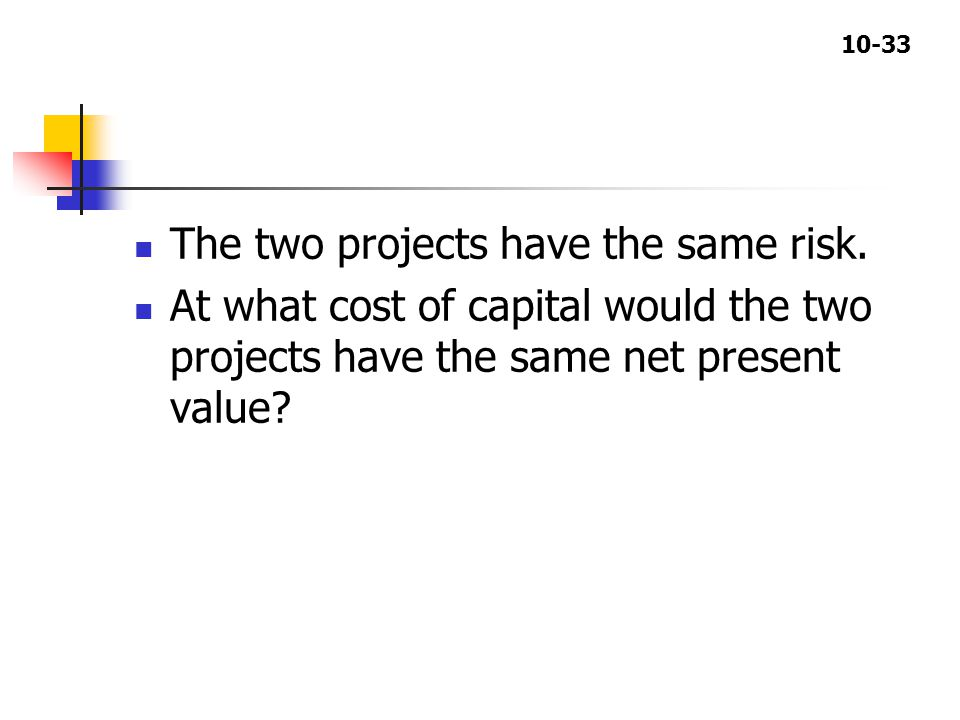 10-33 The two projects have the same risk.