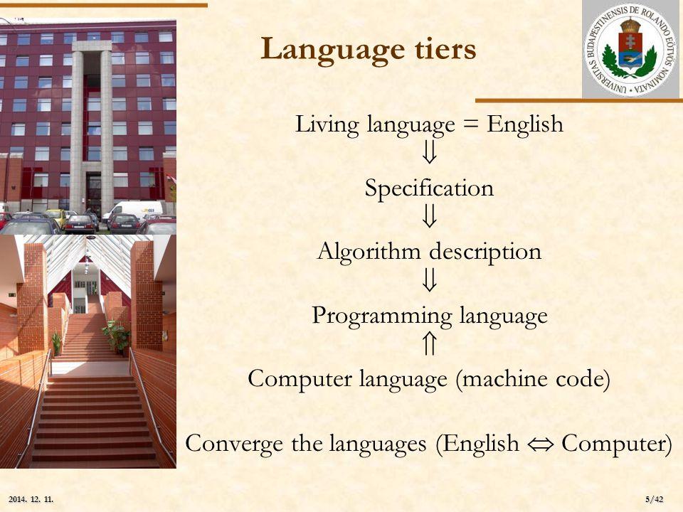 ELTE 5/42 2014. 12. 11.2014. 12. 11.2014. 12. 11. Language tiers Living language = English  Specification  Algorithm description  Programming langu