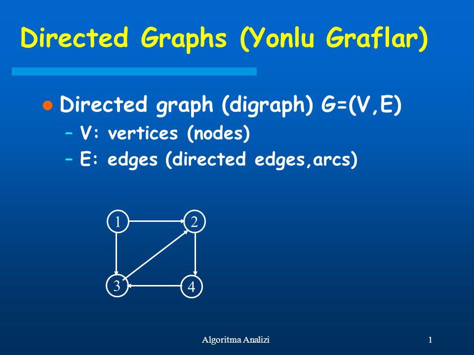 1Algoritma Analizi Directed Graphs (Yonlu Graflar) Directed graph (digraph) G=(V,E) –V: vertices (nodes) –E: edges (directed edges,arcs) 12 4 3