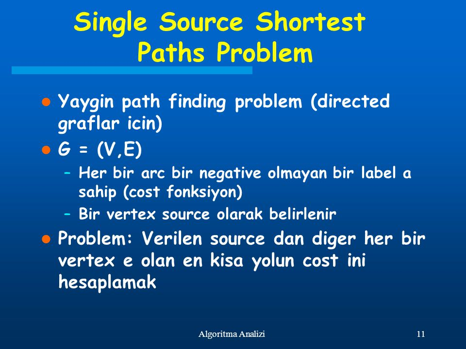 11Algoritma Analizi Single Source Shortest Paths Problem Yaygin path finding problem (directed graflar icin) G = (V,E) –Her bir arc bir negative olmay
