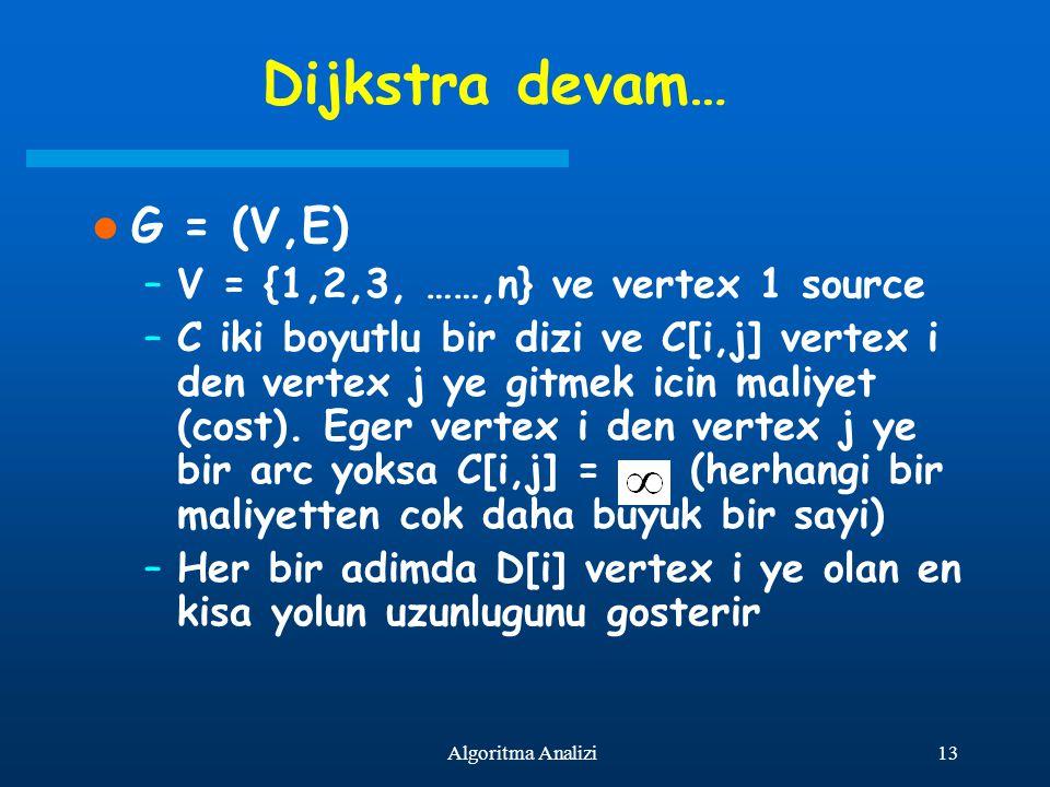 13Algoritma Analizi Dijkstra devam… G = (V,E) –V = {1,2,3, ……,n} ve vertex 1 source –C iki boyutlu bir dizi ve C[i,j] vertex i den vertex j ye gitmek