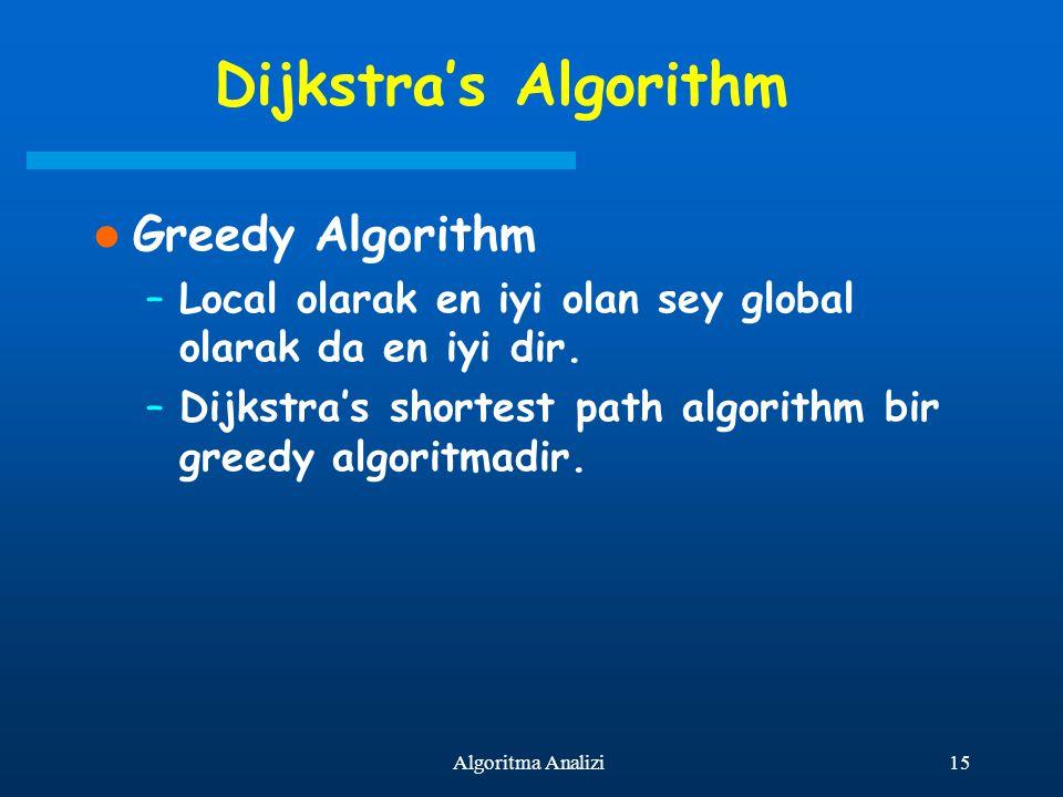 15Algoritma Analizi Dijkstra's Algorithm Greedy Algorithm –Local olarak en iyi olan sey global olarak da en iyi dir. –Dijkstra's shortest path algorit