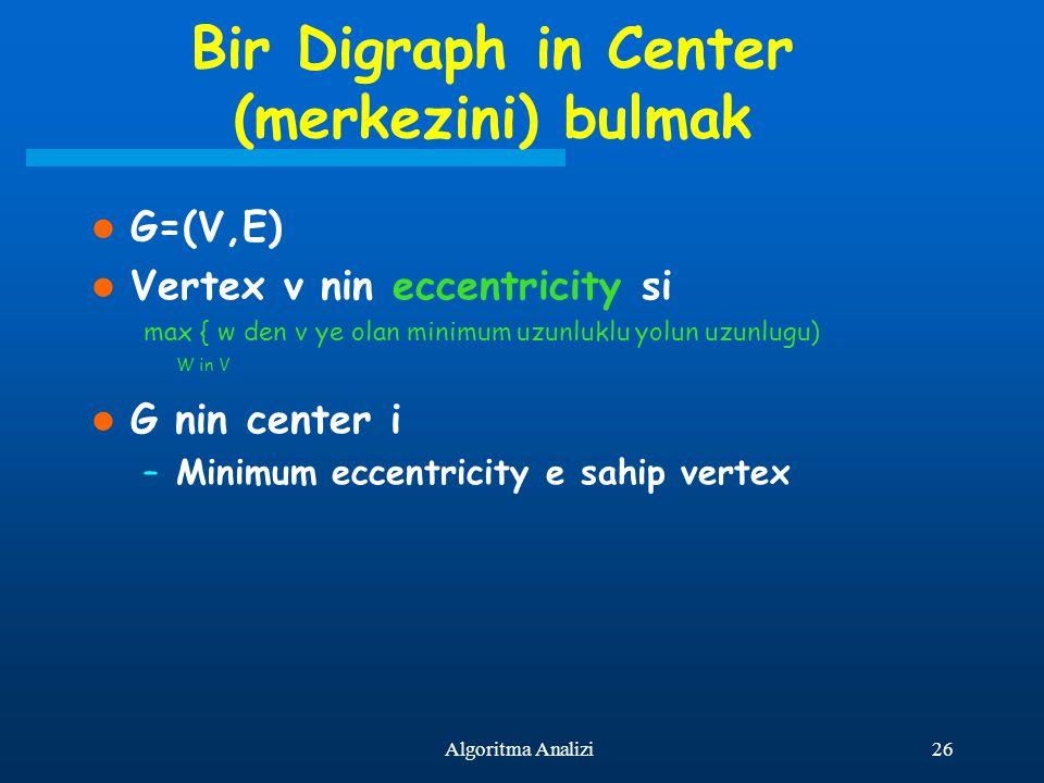 26Algoritma Analizi Bir Digraph in Center (merkezini) bulmak G=(V,E) Vertex v nin eccentricity si max { w den v ye olan minimum uzunluklu yolun uzunlu