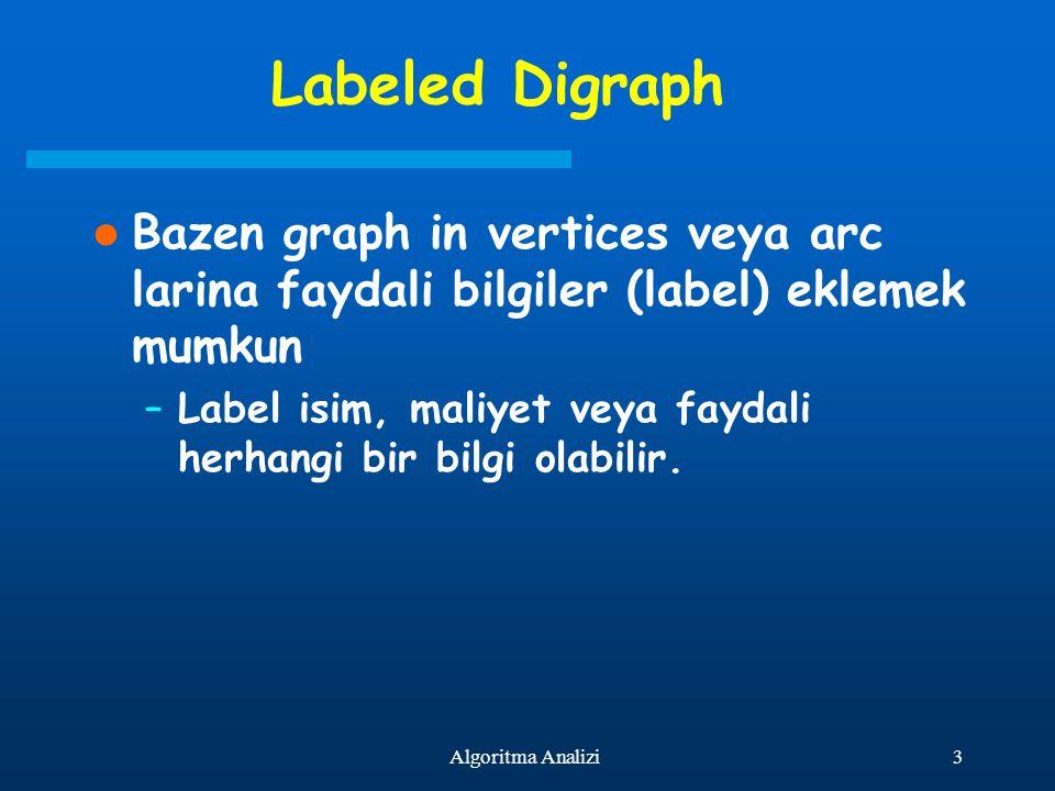 3Algoritma Analizi Labeled Digraph Bazen graph in vertices veya arc larina faydali bilgiler (label) eklemek mumkun –Label isim, maliyet veya faydali h