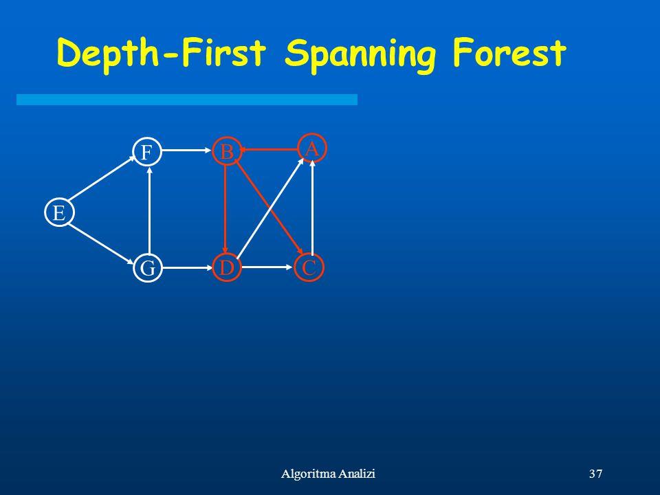 37Algoritma Analizi Depth-First Spanning Forest E F G B D A C