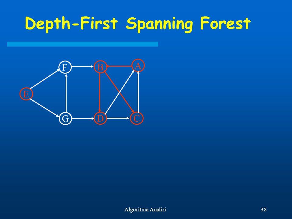 38Algoritma Analizi Depth-First Spanning Forest E F G B D A C