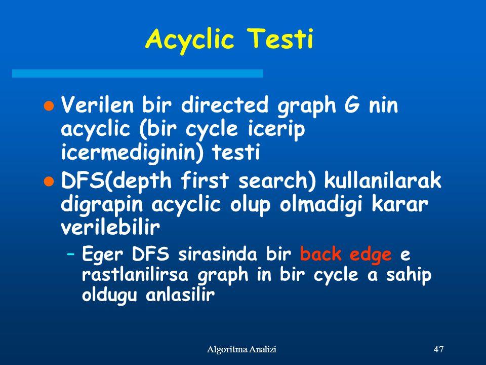 47Algoritma Analizi Acyclic Testi Verilen bir directed graph G nin acyclic (bir cycle icerip icermediginin) testi DFS(depth first search) kullanilarak