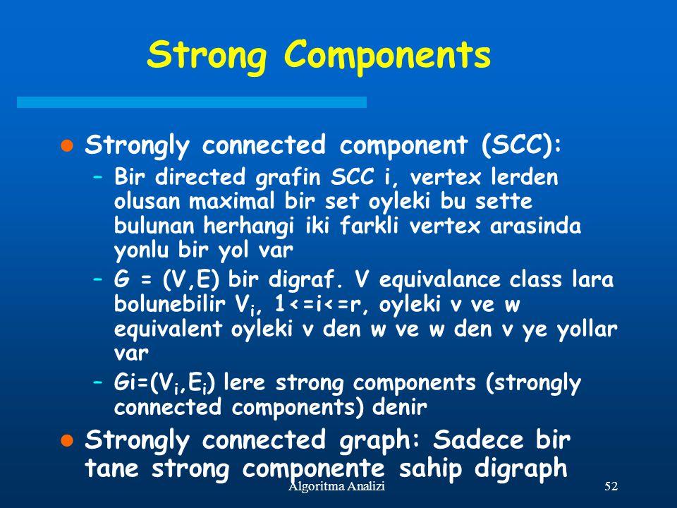 52Algoritma Analizi Strong Components Strongly connected component (SCC): –Bir directed grafin SCC i, vertex lerden olusan maximal bir set oyleki bu s