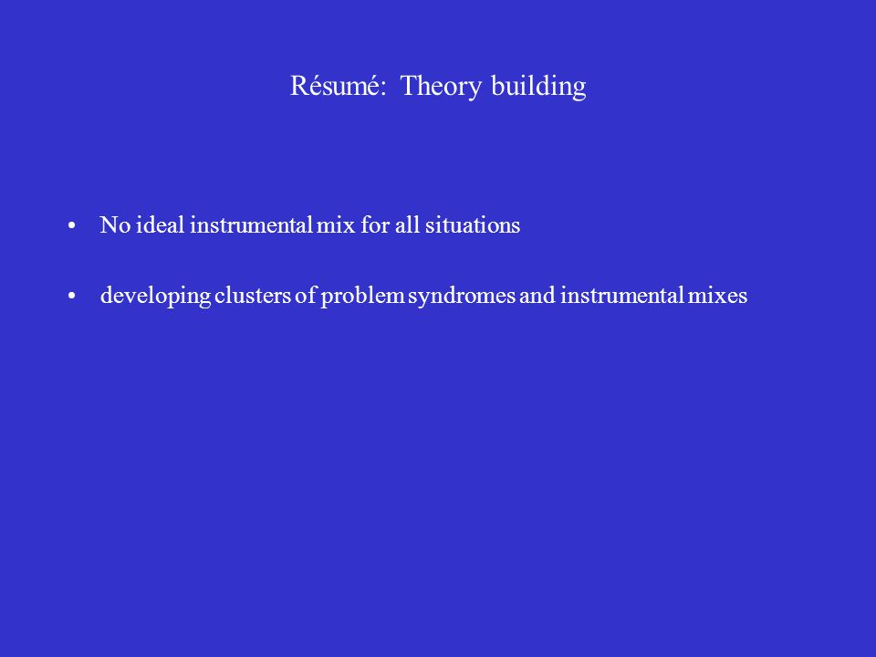 Résumé: Theory building No ideal instrumental mix for all situations developing clusters of problem syndromes and instrumental mixes