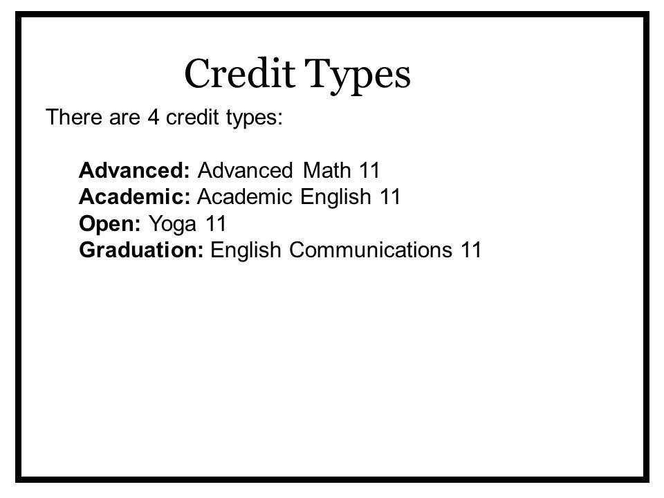 Credit Types There are 4 credit types: Advanced: Advanced Math 11 Academic: Academic English 11 Open: Yoga 11 Graduation: English Communications 11