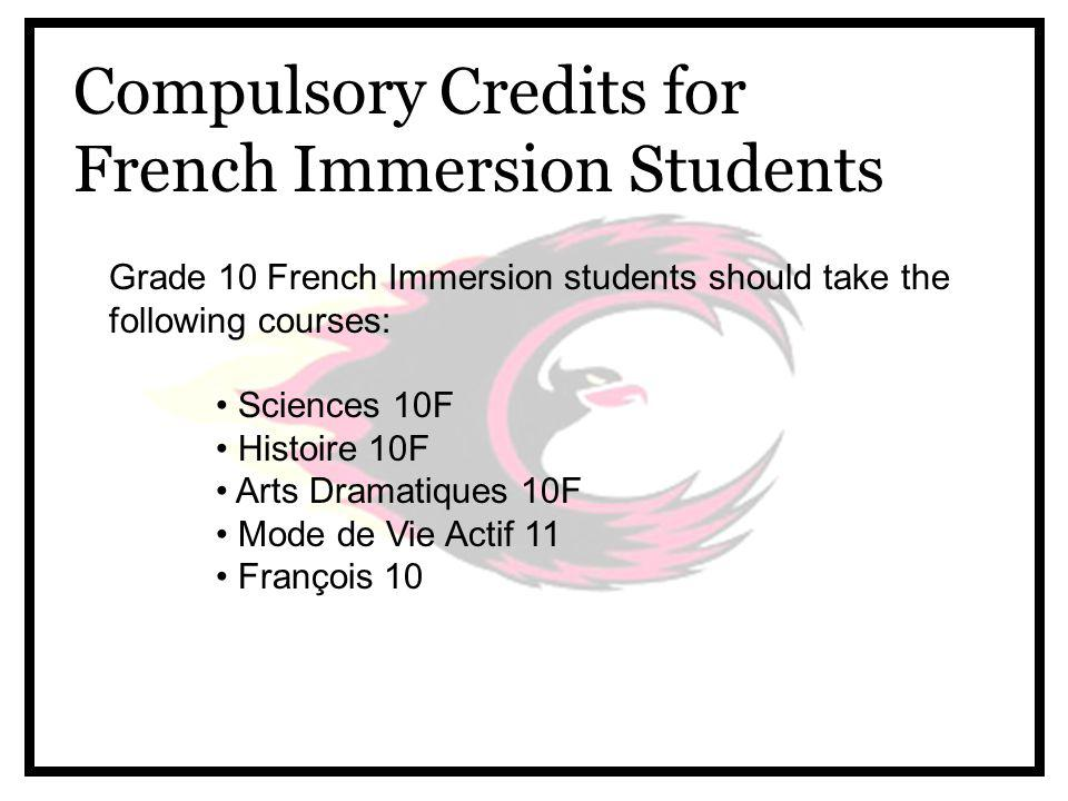 Compulsory Credits for French Immersion Students Grade 10 French Immersion students should take the following courses: Sciences 10F Histoire 10F Arts Dramatiques 10F Mode de Vie Actif 11 François 10
