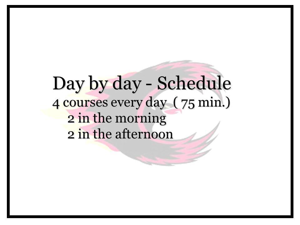 Period Monday Days (A,F) Tuesday Days (B,G) Wednesday Days (C,H) Thursday Days (D,I) Friday Days (E,J) 1 (9:00 - 10:15) Course 1Course 2Course 3Course 4Course 1 2 (10:20 - 11:35) Course 2Course 1Course 4Course 3Course 2 11:40 - 12:30 LUNCH 3 (12:40 - 1:50) Course 3Course 4Course 1Course 2Course 3 4 (1:55 - 3:10) Course 4Course 3Course 2Course 1Course 4 Daily Schedule