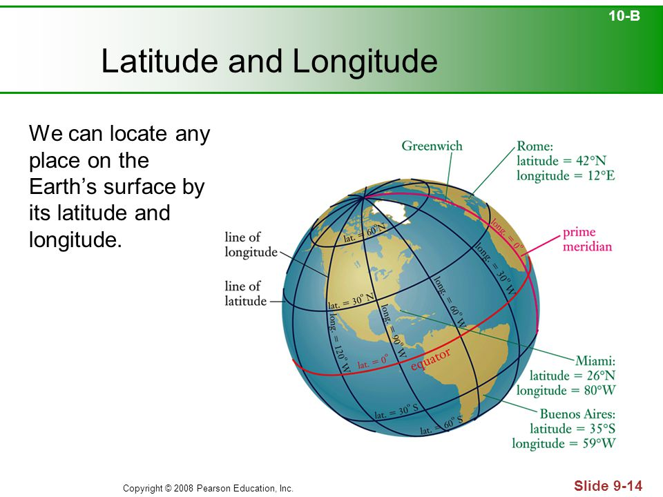 Copyright © 2008 Pearson Education, Inc. Slide 9-14 Latitude and Longitude We can locate any place on the Earth's surface by its latitude and longitud