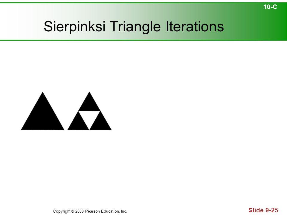 Copyright © 2008 Pearson Education, Inc. Slide 9-25 Sierpinksi Triangle Iterations 10-C