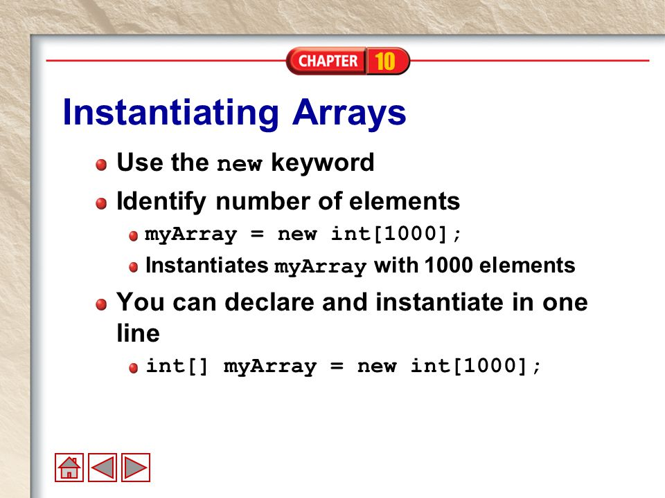 10 Putting Values in the Array Use the index operator to assign a value at a particular place in the array.