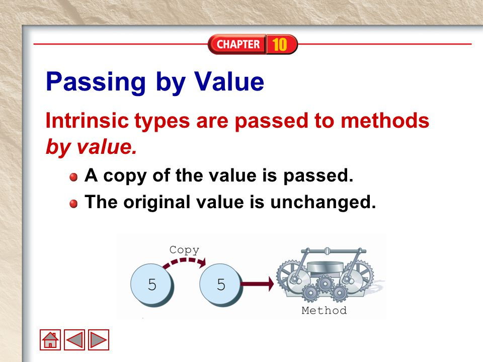 10 Passing by Reference Objects are passed to methods by reference.