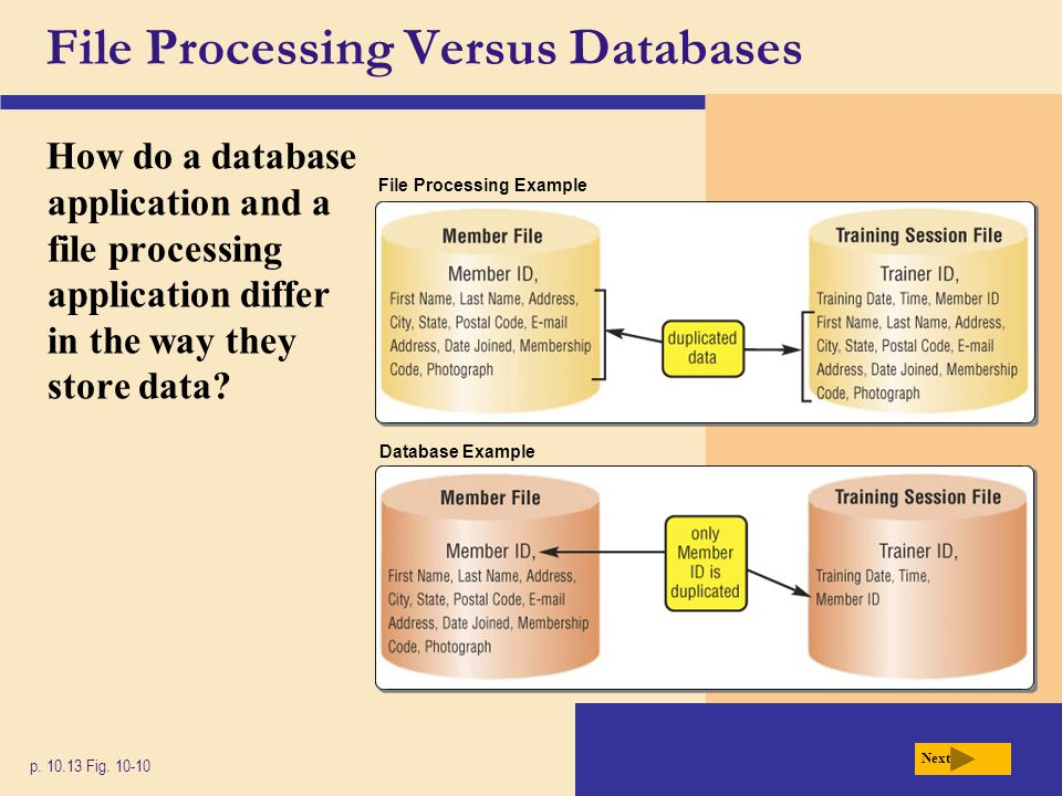 File Processing Versus Databases How do a database application and a file processing application differ in the way they store data? p. 10.13 Fig. 10-1