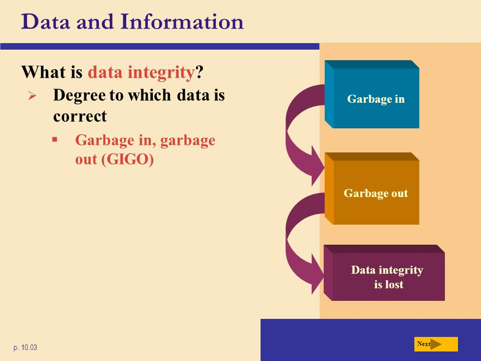 Data and Information What is data integrity? p. 10.03 Next  Degree to which data is correct  Garbage in, garbage out (GIGO) Garbage out Garbage in D