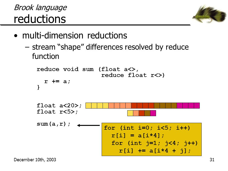 """December 10th, 200331 Brook language reductions multi-dimension reductions –stream """"shape"""" differences resolved by reduce function reduce void sum (fl"""