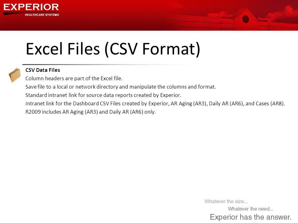 Excel Files (CSV Format) CSV Data Files Column headers are part of the Excel file.