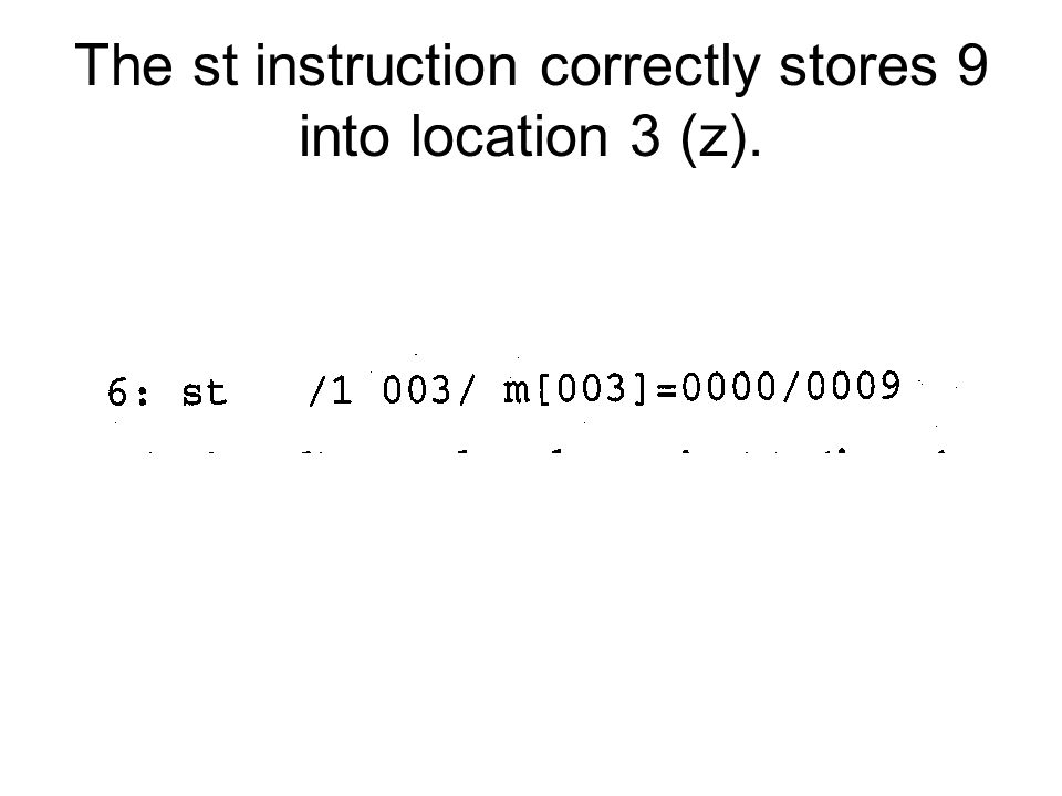 The st instruction correctly stores 9 into location 3 (z).