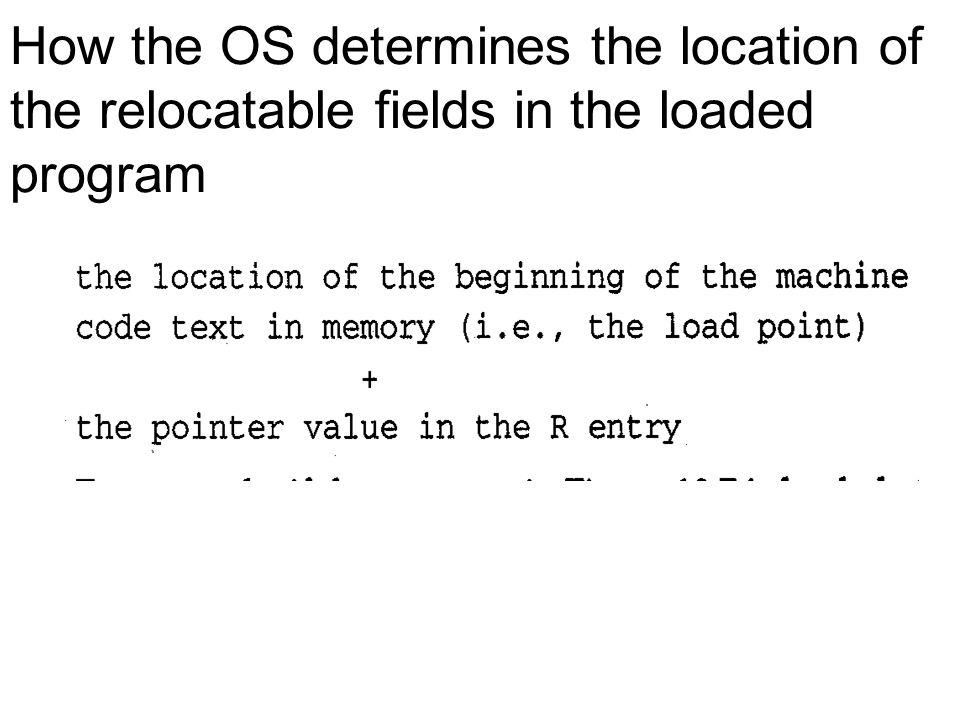 How the OS determines the location of the relocatable fields in the loaded program