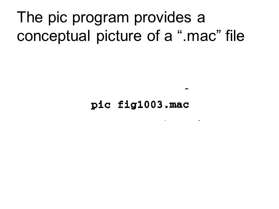 The pic program provides a conceptual picture of a .mac file