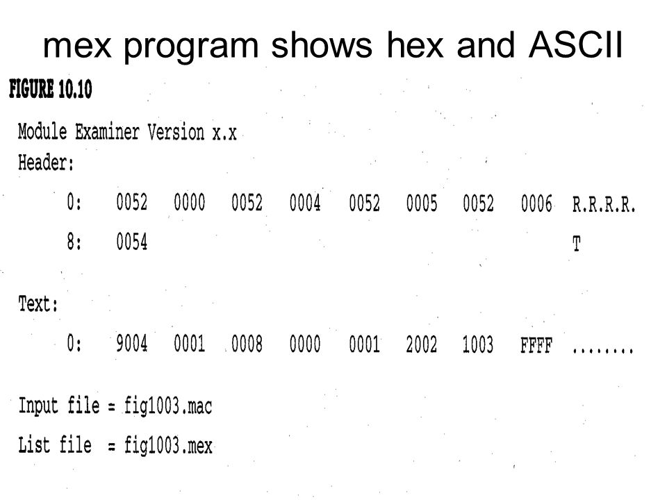 mex program shows hex and ASCII