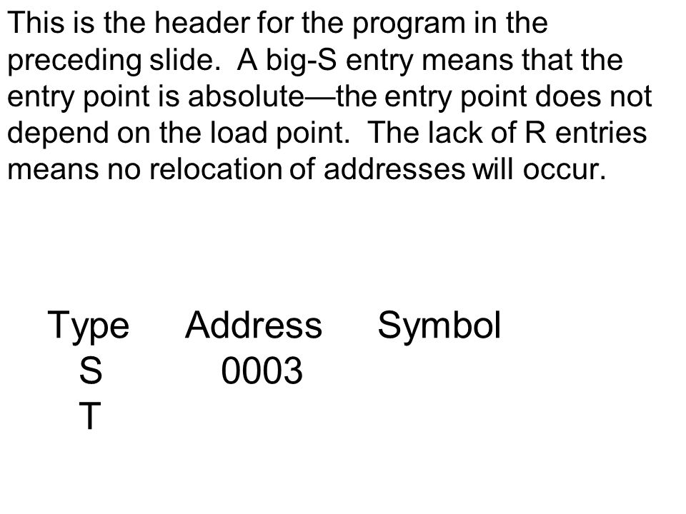 Type Address Symbol S 0003 T This is the header for the program in the preceding slide.