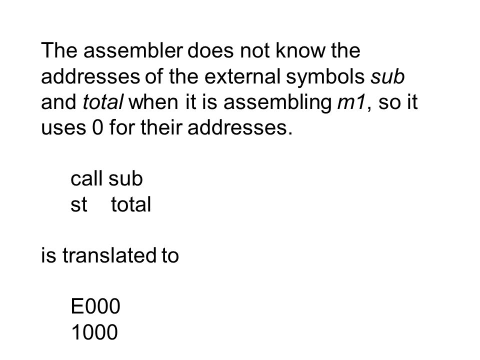 The assembler does not know the addresses of the external symbols sub and total when it is assembling m1, so it uses 0 for their addresses.