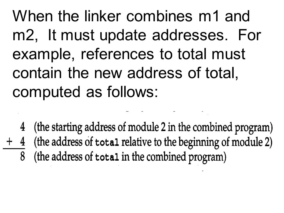 When the linker combines m1 and m2, It must update addresses.