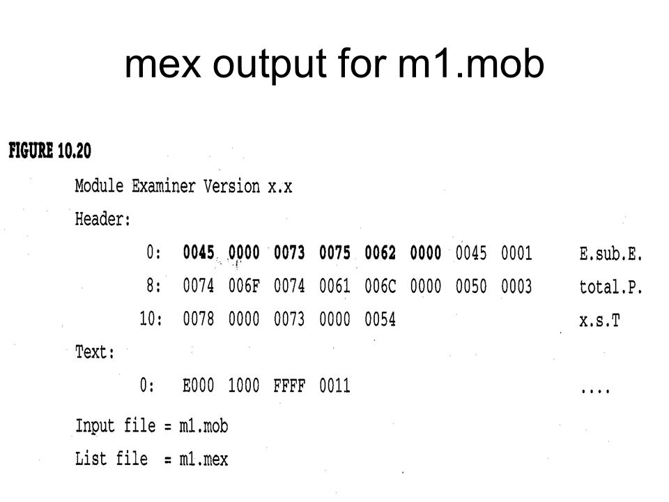 mex output for m1.mob