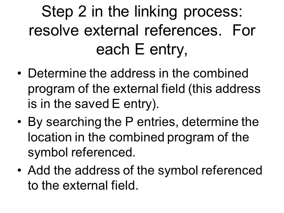 Step 2 in the linking process: resolve external references.