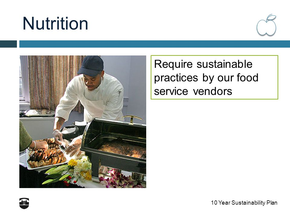 10 Year Sustainability Plan Nutrition Require sustainable practices by our food service vendors
