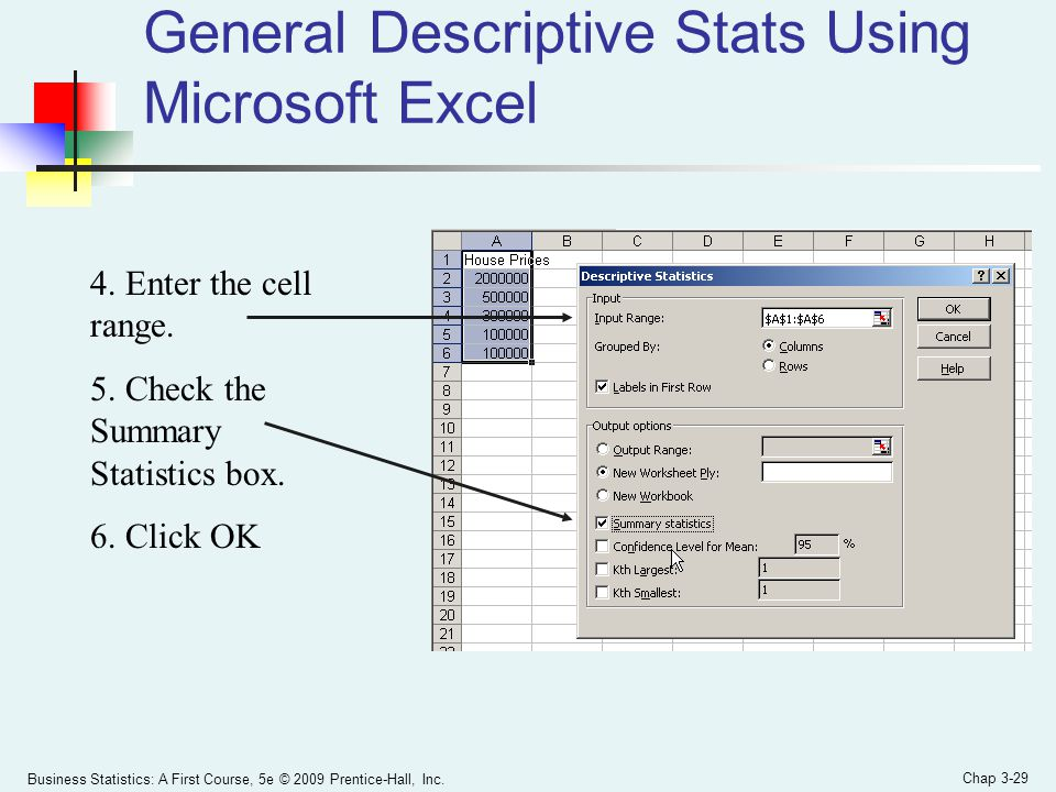 Business Statistics: A First Course, 5e © 2009 Prentice-Hall, Inc. Chap 3-29 General Descriptive Stats Using Microsoft Excel 4. Enter the cell range.