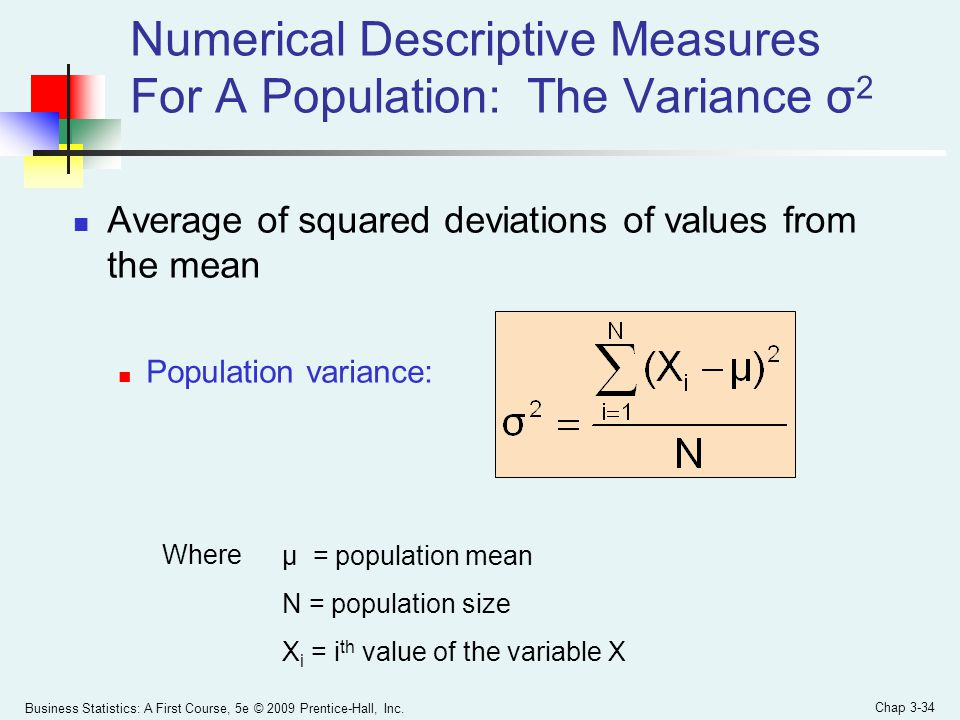Business Statistics: A First Course, 5e © 2009 Prentice-Hall, Inc. Chap 3-34 Average of squared deviations of values from the mean Population variance