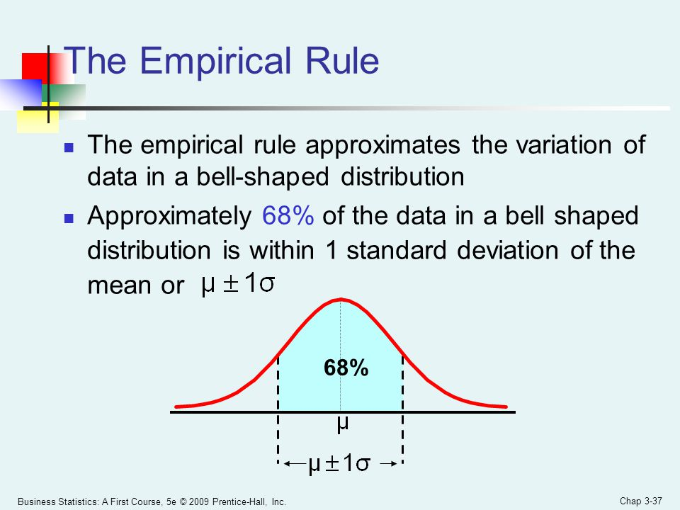 Business Statistics: A First Course, 5e © 2009 Prentice-Hall, Inc. Chap 3-37 The empirical rule approximates the variation of data in a bell-shaped di