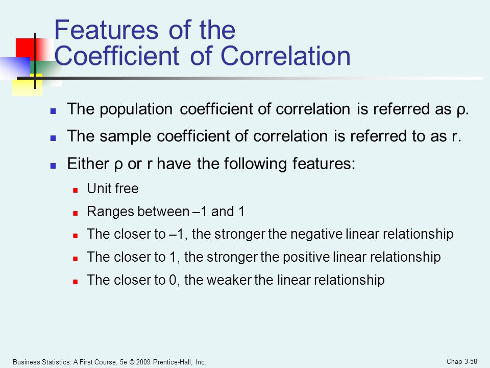 Business Statistics: A First Course, 5e © 2009 Prentice-Hall, Inc. Chap 3-58 Features of the Coefficient of Correlation The population coefficient of